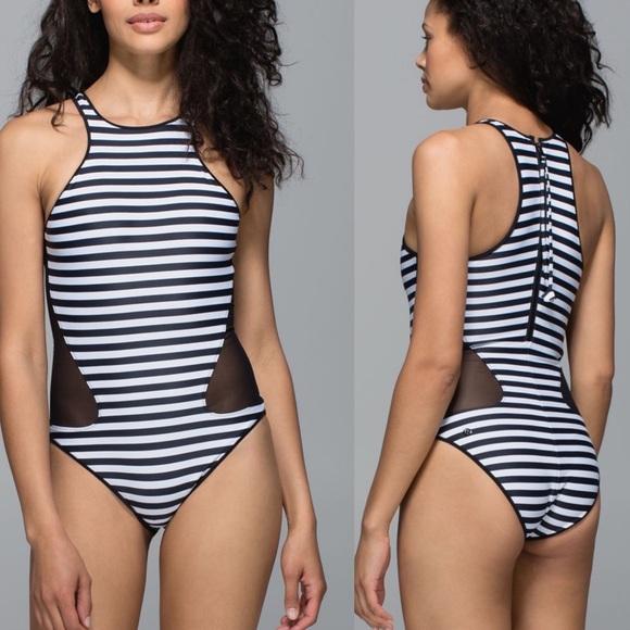 lululemon athletica Other - Lululemon Salty Swim Front Racer Stripes Swimsuit